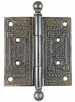 "Antique 4"" x 4"" Cast Iron Ball Tip Door Hinge in ""Floral"" Design by Penn Hardware - Circa 1907"