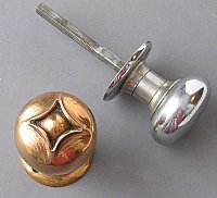 "Antique Bronze & Chrome Russell & Erwin ""Oxford"" Doorknob Pair"