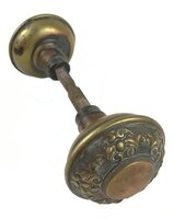"Antique Wrought Bronze ""Nubian"" Pattern by Yale & Towne Door Knob Pair - Circa 1921"
