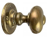 Antique Wrought Brass Doorknob and Roses Set by P. & F. Corbin - French Curve Knobs - Circa 1930