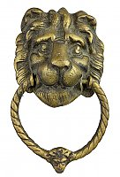 "Antique Cast Brass Colonial Revival ""Lion Head"" Doorknocker - Circa 1950"