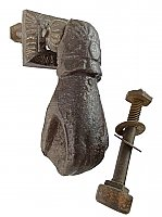 Antique Cast Iron Lady's Hand Doorknocker With Anvil - Circa 1870