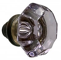 Antique Amethyst Glass Octagonal Door Knob - Circa 1920