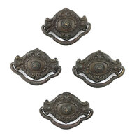 Antique Set of Four Colonial Revival Drawer Pulls - Center Post Mount