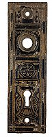 Antique Cast Iron Aesthetic Pattern Door Plate by Norwalk Lock Company - Circa 1909