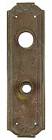 "Antique Wrought Bronze ""Zenobian"" Pattern Cylinder Lock Door Plate by Yale & Towne Hardware - Circa 1921"