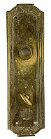 "Antique Wrought Brass ""Zenobian"" Pattern Thumbturn/Privacy Door Plate by Yale & Towne Hardware - Circa 1921"