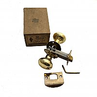 Penn Brass Plated Wrought Steel Tubular Passage Door Lock Set - New Old Stock