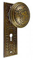 "Antique Wrought Bronze Door Set in ""Montello"" Design by Reading Hardware Co. - Circa 1897"