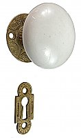 Antique Cast Bronze and White Porcelain Knob Door Set by Mallory Wheeler Co. - Circa 1882
