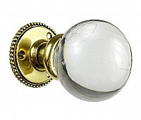 Antique Glass Ball and Cast Brass Door Knobs and Rosettes by P. & F. Corbin - Circa 1923