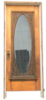 Antique Oak Full Glass Exterior Door with Jamb - Oval Beveled Glass - Circa 1910
