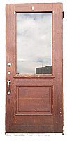 Antique Half Glass Oak Exterior Door - Circa 1900