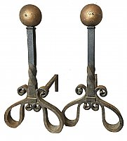"Antique Pair of ""Bradley & Hubbard"" Wrought Iron Antique Fireplace Andirons"