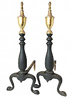Pair of Iron & Brass Federal Style Fireplace Andirons