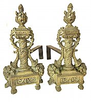 Antique Pair of Solid Brass Louis XVI Fireplace Andirons