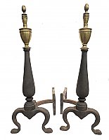 "Antique Pair of ""Sheffield Co. NY"" Cast Iron and Brass Federal Style Fireplace Andirons"