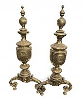 Antique Pair of Solid Brass Colonial Revival Fireplace Andirons