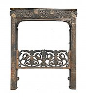 Antique Dawson Bros. Cast Iron Fireplace Surround