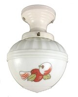 Antique Porcelain Flush Mount Ceiling Light Fixture with Hand Painted Art Deco Red & White Apple Shade - Circa 1930