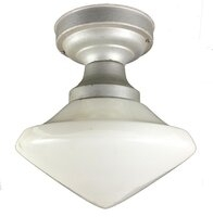 Antique Flush Mount Ceiling Light Fixture with Streamlined Modern Shade - Circa 1930