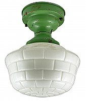 Antique Art Deco Apple Green Schoolhouse Flush Light Fixture - Circa 1930