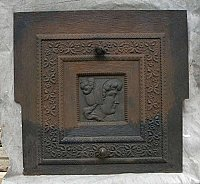 Antique Early Colonial Theme Figural Cast Iron Fireplace Cover