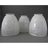 "Set of 3 Antique Glass Shades - 2-1/4"" Fitter"