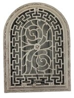Antique Cast Iron Arched or Circular Top Heat Grate or Register With Carved Raised Face - Sandblasted With Louvers