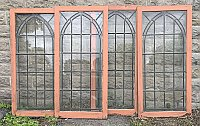 Antique Leaded & Textured Glass Sash Window, Sold Individually