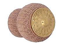 "Eastlake Walnut & Brass Knob 1"" diameter"