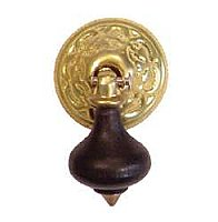 Eastlake Ebonized Drop Cabinet Pull - Unlacquered Polished Brass