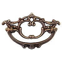 Victorian Style Drawer Pull - Antique Brass