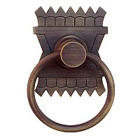 Eastlake Ring Pull, Antique Brass