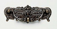 Victorian Cabinet Pull with Ornate Backplate- Shaded Bronze