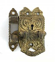 Antique Brass Bail Icebox Latch & Catch, Left Hand