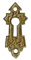 Antique Cast Bronze Keyhole Escutcheon or Cover by Norwich Lock Co. - Circa 1888