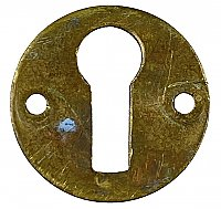 Antique Wrought Brass Keyhole Escutcheon or Cover - Circa 1890