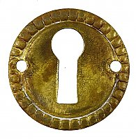 Antique Wrought Brass Keyhole Escutcheon or Cover - Circa 1920