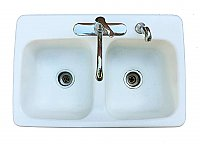 Antique Double Bowl Enamel Kitchen Sink