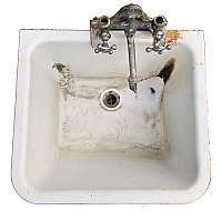 Antique Crane Industrial Utility Sink with Cast Iron Leg