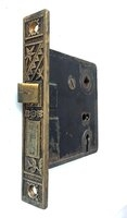 Antique Aesthetic Movement Bronze Face Mortise Door Lock