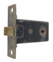 Antique Mortise Door Latch With Patterned Faceplate - Circa 1880