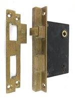 Antique P. & F. Corbin Rabbetted Mortise Door Lock With Strike Plate - Circa 1900