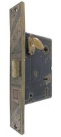"Antique Bronze Aesthetic Pattern Entry Mortise Door Lock With Thumbturn - 3/8"" Spindle Hub - Circa 1890"