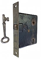 Antique Interior Mortise Door Lock and Key by Penn Hardware - Circa 1910