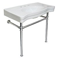 "Fauceture 36"" Vitreous China Sink Console with Stainless Steel Legs - Polished Chrome"