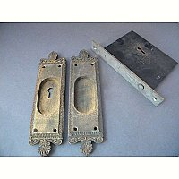 "Antique Corbin ""New York"" Pattern Sliding/ Pocket Door Lock Set"