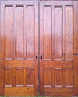 Antique Pair of Six Panel Pine Sliding or Pocket Doors - Circa 1860