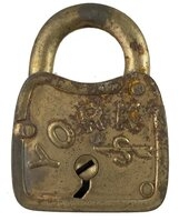 "Antique Brass Plated ""York"" Padlock by Slaymaker - No Key"